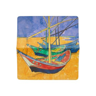 Beach Themed Van Gogh Impressionist Boats Checkbook Cover