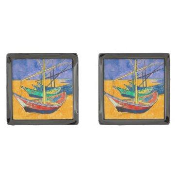 Beach Themed Van Gogh Impressionist Boats Cufflinks
