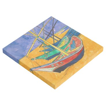 Beach Themed Van Gogh Impressionist Boats Gallery Wrap