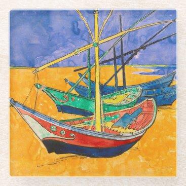 Van Gogh Impressionist Boats Glass Coaster