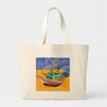 Beach Themed Van Gogh Impressionist Boats Large Tote Bag