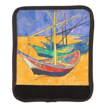 Beach Themed Van Gogh Impressionist Boats Luggage Handle Wrap