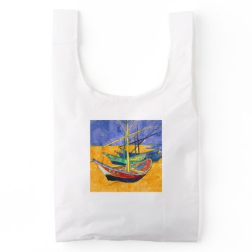 Beach Themed Van Gogh Impressionist Boats Reusable Bag