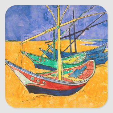 Beach Themed Van Gogh Impressionist Boats Square Sticker