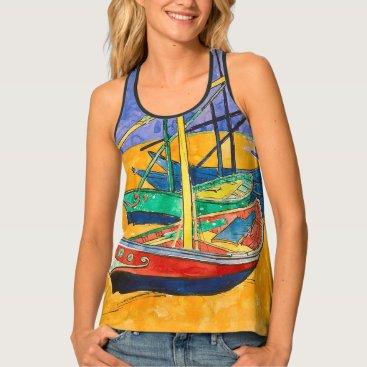 Beach Themed Van Gogh Impressionist Boats Tank Top