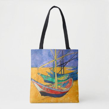 Beach Themed Van Gogh Impressionist Boats Tote Bag
