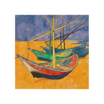 Beach Themed Van Gogh Impressionist Boats Wood Wall Decor