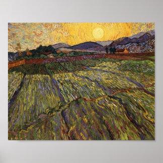 Van Gogh incluyó el sol naciente del campo (F737) Posters