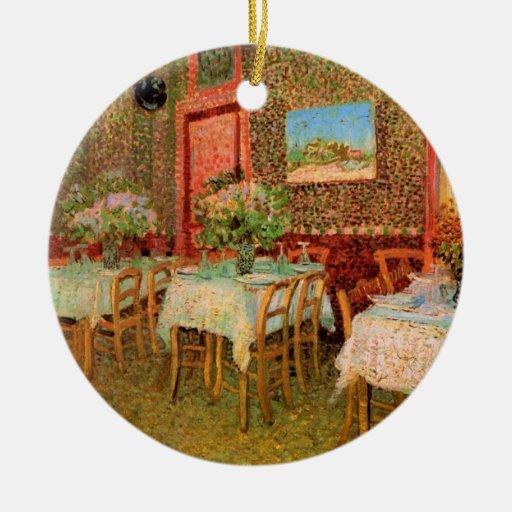 Van Gogh; Interior de un restaurante, arte del Adorno Redondo De Cerámica