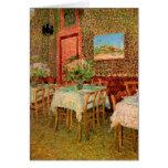 Van Gogh; Interior de un restaurante, arte del Tarjetón