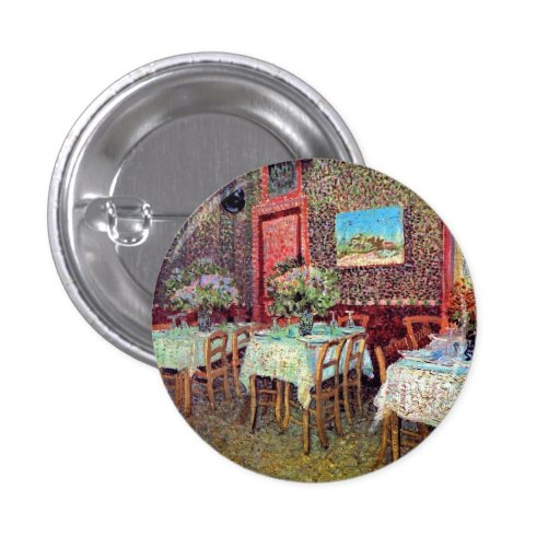Van Gogh - interior de un restaurante Chapa Redonda 2,5 Cm
