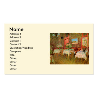 Van Gogh; Interior of a Restaurant, Vintage Art Business Card