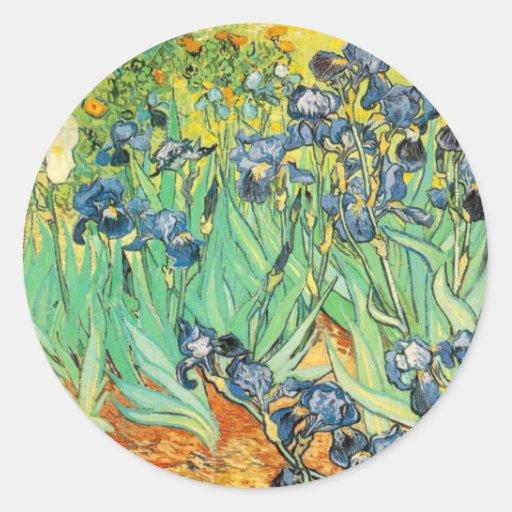 Van Gogh - iris (1889) Etiquetas Redondas