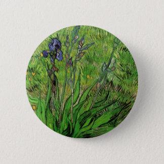 Van Gogh Iris, Vintage Garden Fine Art Flowers Pinback Button