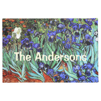 Van Gogh irisa las flores florales personaliza el Felpudo