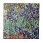 Van Gogh irisa las flores impresionistas Azulejo Cuadrado Pequeño