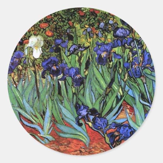 Van Gogh Irises (F608) Vintage Fine Art Classic Round Sticker
