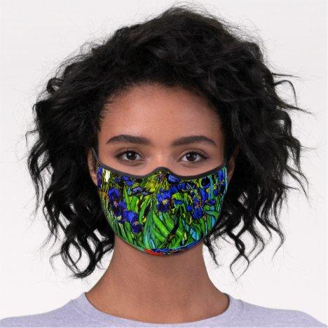 Van Gogh - Irises, floral painting Premium Face Mask