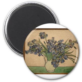 van gogh irises in nyc partial 2 inch round magnet
