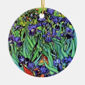 Van Gogh - Irises Double-Sided Ceramic Round Christmas Ornament