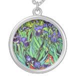 Van Gogh - Irises Round Pendant Necklace