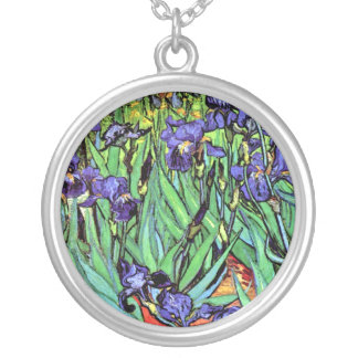 Van Gogh - Irises Round Pendant Necklace