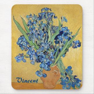 Van Gogh Irises Vase Blue Floral Bouquet Fine Art Mouse Pad