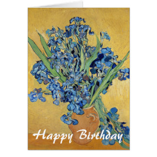 Van Gogh Irises Vase Blue Flowers Art Birthday Card