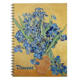 Van Gogh Irises Vase Blue Flowers Bouquet Fine Art Notebook