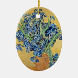 Van Gogh Irises Vase Flowers Still Life Dutch Art Ceramic Ornament