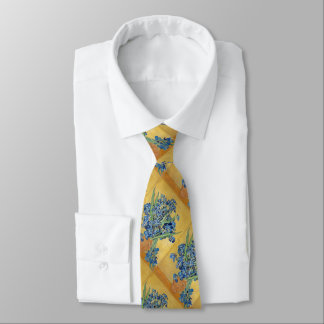 Van Gogh Irises Vase Yellow Background Flowers Art Neck Tie
