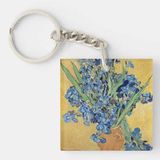 Van Gogh Irises Vase Yellow Wall Blue Flowers Art Double-Sided Square Acrylic Keychain