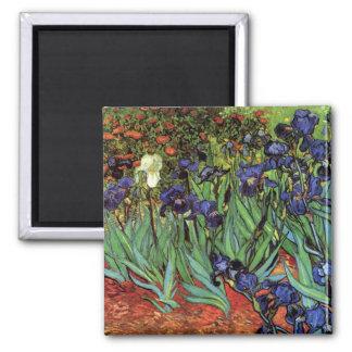 Van Gogh Irises, Vintage Garden Fine Art 2 Inch Square Magnet