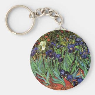 Van Gogh Irises, Vintage Garden Fine Art Basic Round Button Keychain
