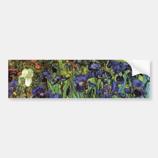 Van Gogh Irises, Vintage Garden Fine Art Bumper Sticker