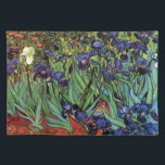 """Van Gogh Irises, Vintage Garden Fine Art Cloth Placemat<br><div class=""""desc"""">Irises (1889) by Vincent van Gogh is a vintage fine art post impressionism landscape floral painting featuring a garden with purple bearded irises growing by orange poppies. A single white iris flower is blooming at the edge. About the artist: Vincent Willem van Gogh (1853 -1890) was one of the most...</div>"""