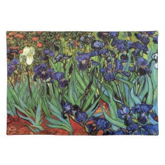 Van Gogh Irises, Vintage Garden Fine Art Cloth Placemat