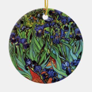 Van Gogh Irises, Vintage Garden Fine Art Double-Sided Ceramic Round Christmas Ornament