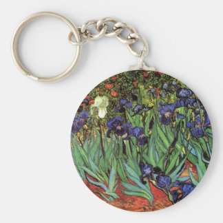 Van Gogh Irises, Vintage Garden Fine Art Keychain
