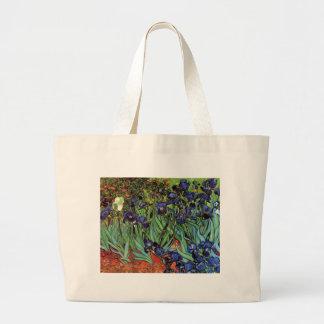 Van Gogh Irises, Vintage Garden Fine Art Large Tote Bag