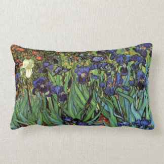Van Gogh Irises, Vintage Garden Fine Art Lumbar Pillow