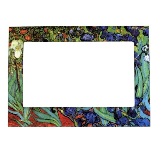 Van Gogh Irises, Vintage Garden Fine Art Magnetic Frame