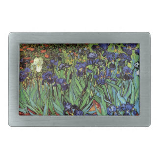 Van Gogh Irises, Vintage Garden Fine Art Rectangular Belt Buckle