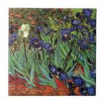 Van Gogh Irises, Vintage Garden Fine Art Small Square Tile