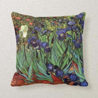 Van Gogh Irises, Vintage Garden Fine Art Throw Pillow