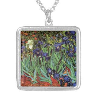 Van Gogh Irises, Vintage Post Impressionism Art Necklace