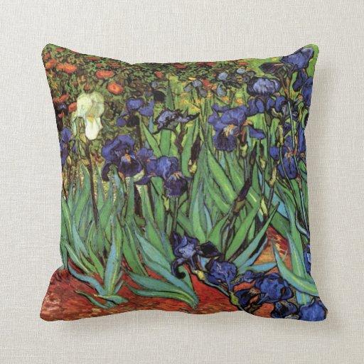 Van Gogh Irises, Vintage Post Impressionism Art Throw Pillow