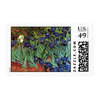 Van Gogh Irises, Vintage Post Impressionism Art Stamps