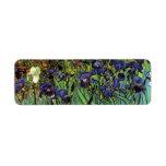 Van Gogh Irises, Vintage Post Impressionism Art Return Address Label