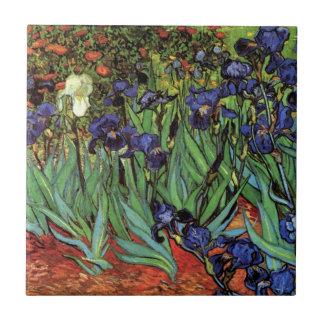 Van Gogh Irises, Vintage Post Impressionism Art Small Square Tile